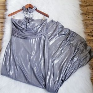 Prom Silver Metallic Halter Special Occassion Dres